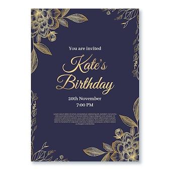 Modello di invito di compleanno di lusso dorato realistico