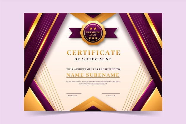 Modello di certificato di lusso dorato realistico