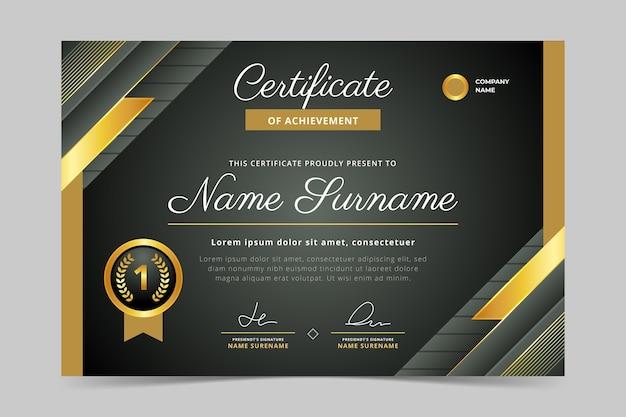 Certificato di lusso dorato realistico