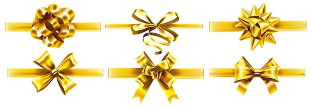 Nastri dorati realistici con fiocchi. fiocco di nastro d'oro regalo di festa, set realistico di impacchi presenti.