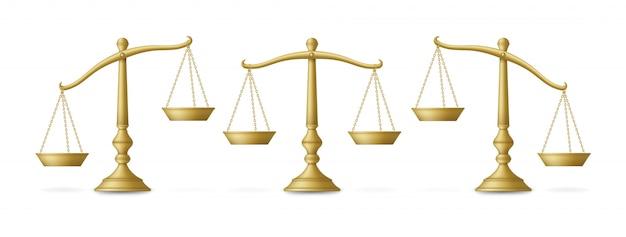 Scale dorate realistiche impostate con diversi equilibri. illustrazione.