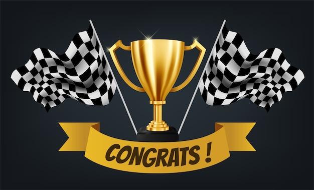Trofeo d'oro realistico con bandiera a scacchi
