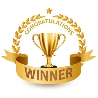 Trofeo d'oro realistico con corona d'oro laurel e nastro