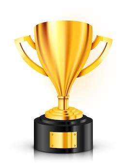 Trofeo d'oro realistico con posto di testo. illustrazione