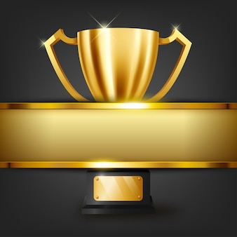 Trofeo dorato realistico con lo spazio del testo sulla bandiera dell'oro