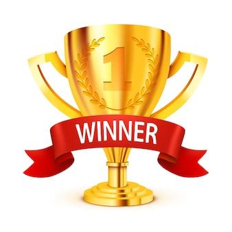Trofeo d'oro realistico con nastro vincitore.