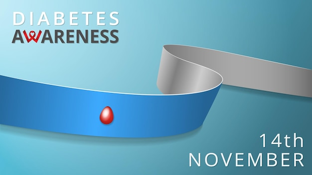 Nastro grigio e blu realistico con goccia di sangue. poster del mese del diabete di sensibilizzazione. illustrazione vettoriale. concetto di solidarietà del giorno del diabete di tipo 1 mondiale. 14 novembre.