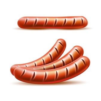 Set di salsicce di carne alla griglia realistiche. vector delizioso wurstel