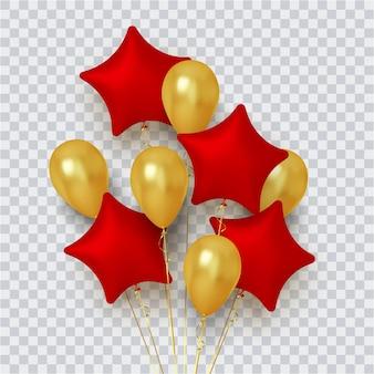 Gruppo realistico di palloncini a forma di stella di rosso e oro su trasparente
