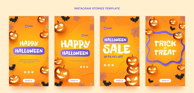 Raccolta realistica di storie di instagram di halloween