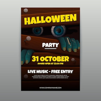 Modello realistico del manifesto verticale della festa di halloween