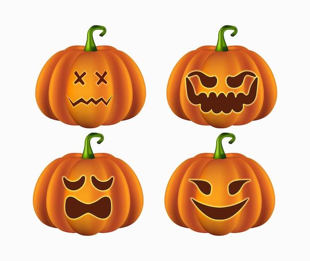 Zucca di halloween realistica con facce