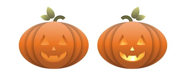 Zucca di halloween realistica con fuoco all'interno. una zucca di plastica con una faccia spaventosa. vettore.