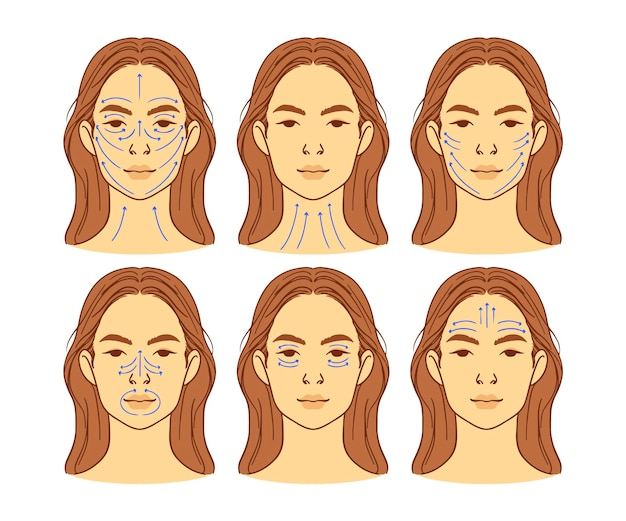 Tecnica di massaggio facciale realistico disegnata a mano