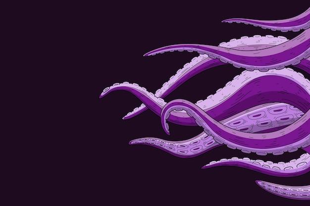 Sfondo di tentacoli di polpo disegnati a mano realistico