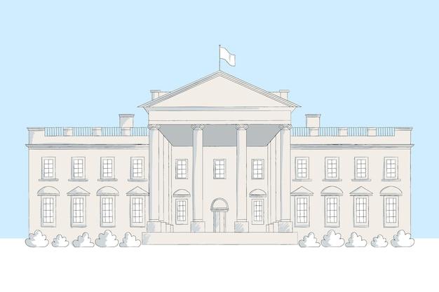 Illustrazione realistica della casa bianca disegnata a mano