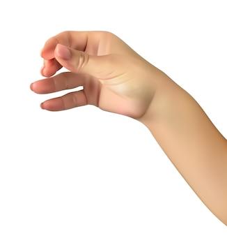 La mano realistica dell'uomo tiene il presunto bicchiere di bevanda alcolica