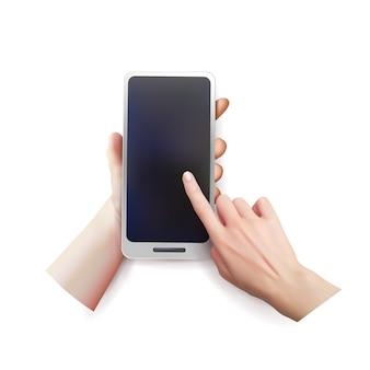 Mani realistiche che tengono uno smartphone.