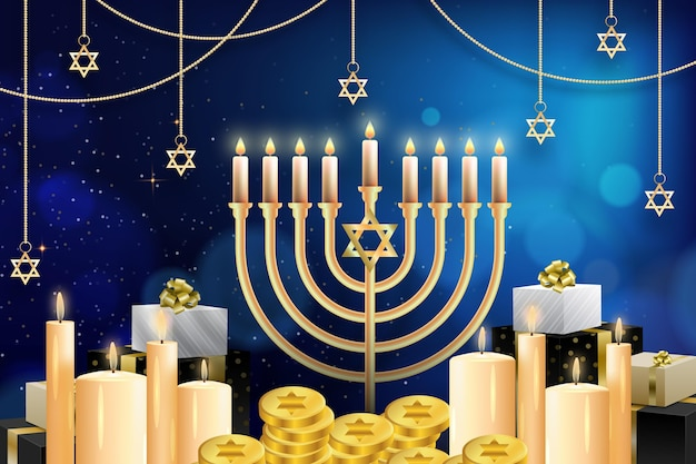 Illustrazione realistica di hanukkah