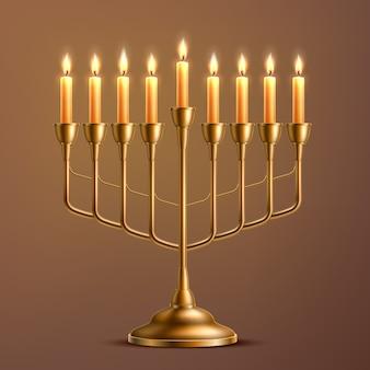 Realistica menorah ebraica di festa di hanukkah