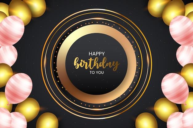 Buon compleanno realistico in nero e dorato