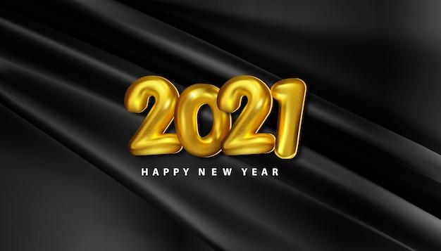 Carta realistica di felice anno nuovo 2021 con numeri di palloncini dorati