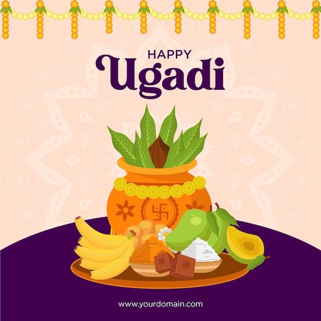 Festival realistico di ugadi felice