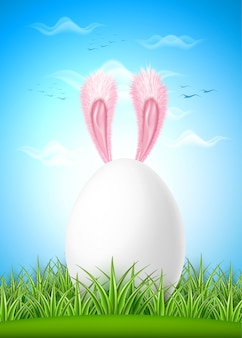 Erba verde dell'uovo di pasqua realistica orecchie di lepre