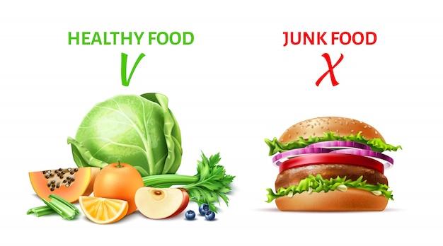 Realistico concetto di cibo sano e spazzatura