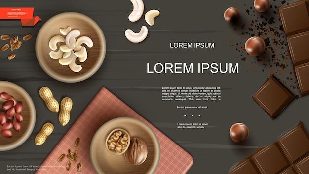 Modello realistico di noci sane con piastre di anacardi, mandorle, noci, arachidi, castagne, pinoli e barrette di cioccolato su sfondo scuro