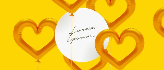 Sfondo di palloncini di stagnola cuore realistico con cornice circolare per il testo