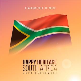 Evento realistico della giornata del patrimonio con bandiera del sud africa