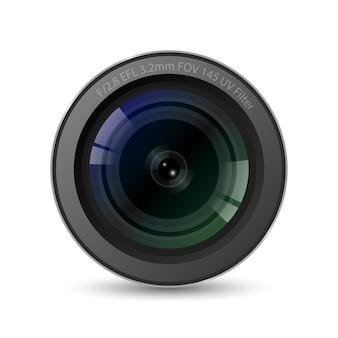 Obiettivo della fotocamera realistico di alta qualità con sfondo bianco