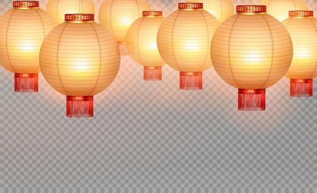 Lanterne hinese realistiche isolate