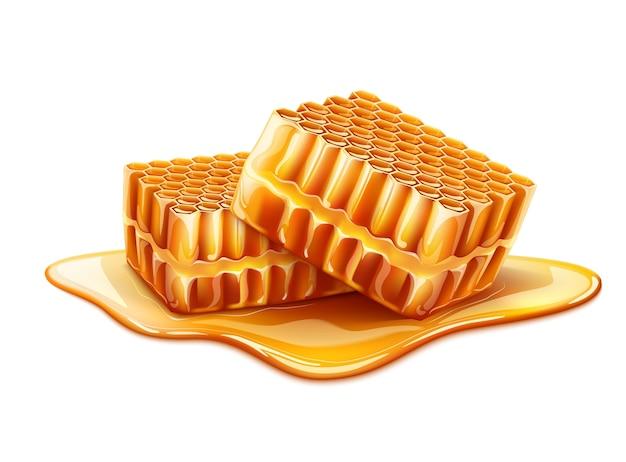 Fette realistiche a nido d'ape con miele liquido intorno