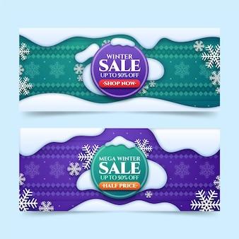 Set di banner di vendita invernale orizzontale realistico