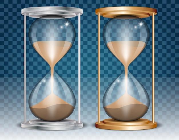 Orologio sabbia isolato clessidra realistico retro vintage concetto orologio sabbia in metallo dorato in legno Vettore Premium