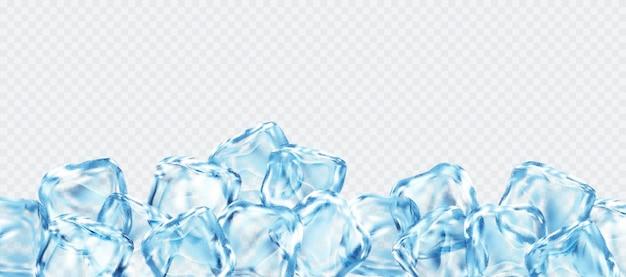 Cubetti di ghiaccio realistici isolati su sfondo bianco trasparente. illustrazione vettoriale