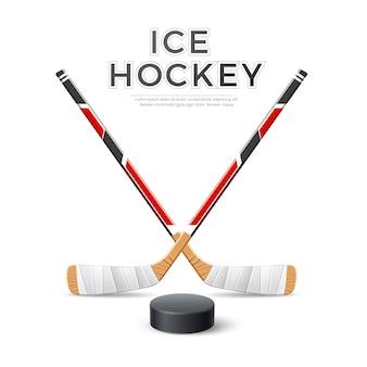 Bastoni incrociati realistici di hockey su ghiaccio con puck hockey emblema vettoriale