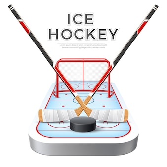 Bastoni incrociati realistici di hockey su ghiaccio con disco in porta rossa con rete e parco giochi