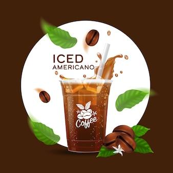 Tazza di bevanda di caffè ghiacciato realistico