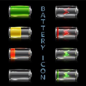 Set di icone realistiche di indicatori di livello della batteria