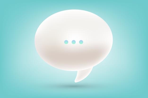 Illustrazione realistica di una bolla di discorso di dialogo bianco 3d