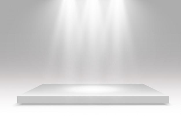 Illustrazione realistica di una piattaforma 3d su uno sfondo trasparente. un posto per stabilire qualcosa.