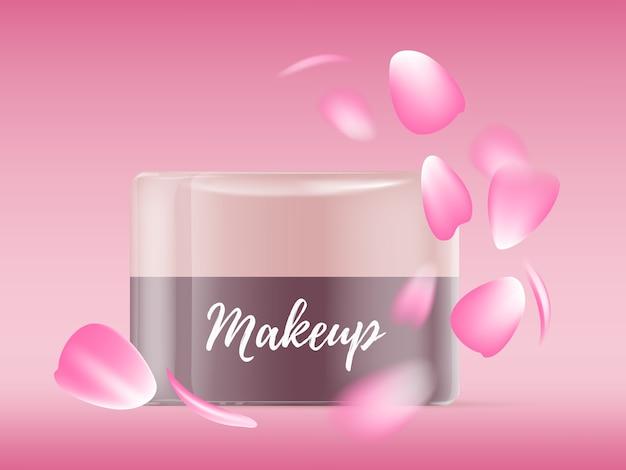 Illustrazione realistica del bellissimo barattolo di crema per il viso luminoso con petali di rosa rosa e testo