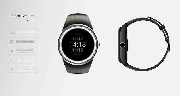 Illustrazione realistica del concetto di orologio intelligente, funzioni tecnologiche e testo del modello.