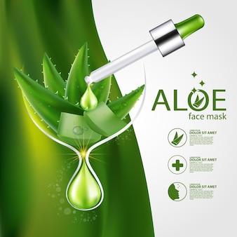 Cosmetici di illustrazione realistica con ingredienti cosmetici per la cura della pelle di aloe vera