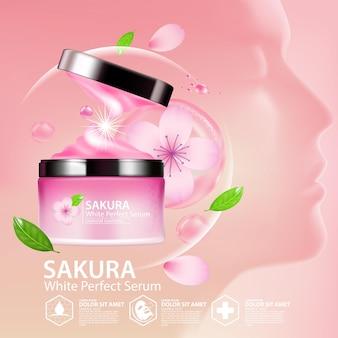 Cosmetici illustrazione realistica con ingredienti cosmetici per la cura della pelle sakura cherry blossoms