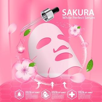 Foglio di maschera per il viso illustrazione realistica con ingredienti cosmetici per la cura della pelle di cherry blossoms
