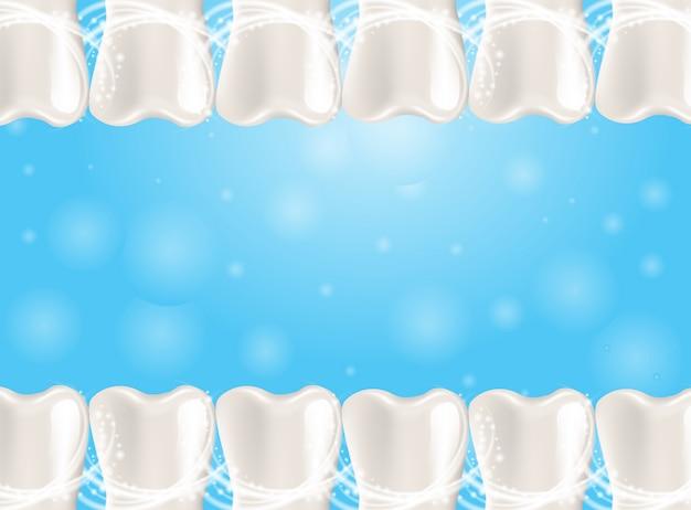 Denti sani dell'illustrazione realistica nel fondo di vettore 3d
